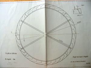 Plan de la roue à augets du moulin de Hundsbach